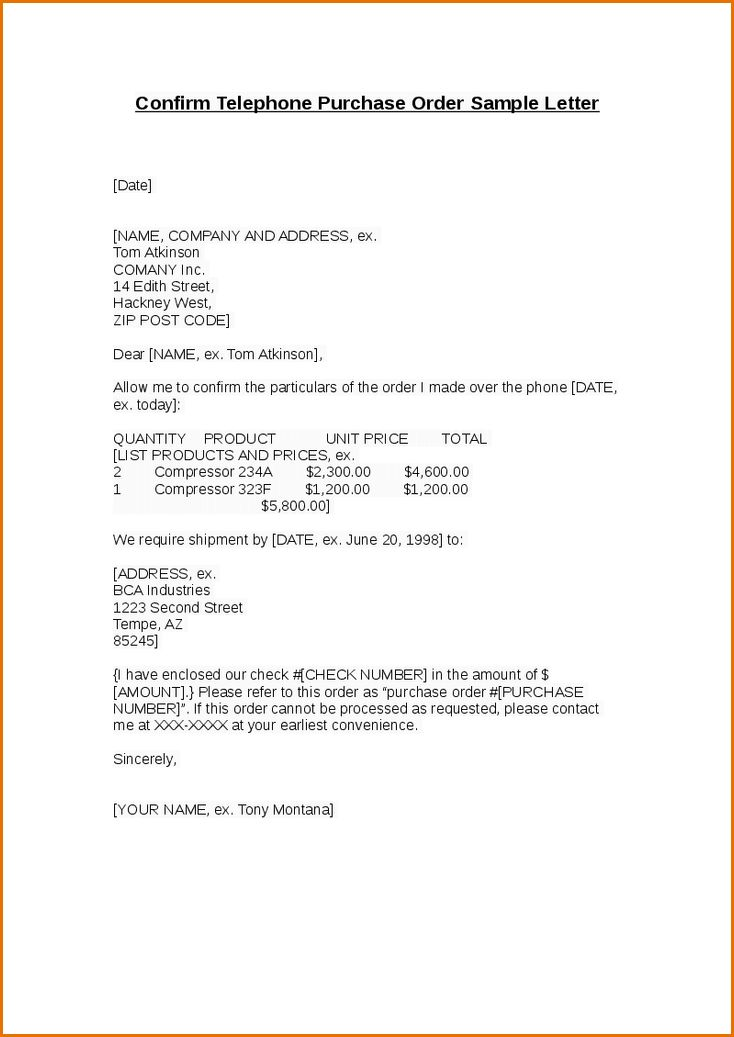 8+ purchase order example | Job Resumes Word