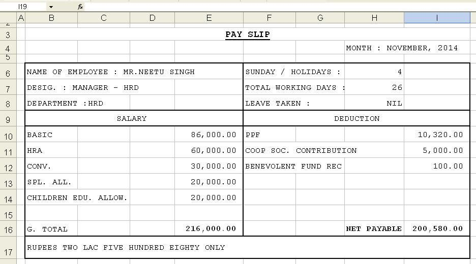 Salary Slip Format Using Excel Template