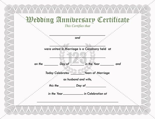 Precious Wedding Anniversary Certificate Template Free Download ...