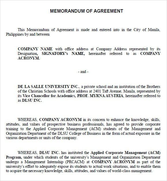 Sample Memorandum of Agreement - 7+ Documents in PDF, Word