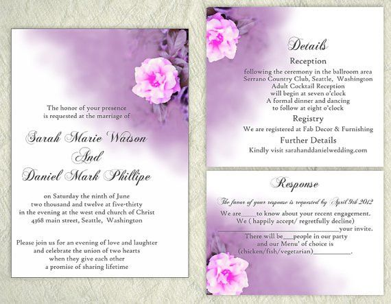 DIY Wedding Invitation Template Set Editable Word File Download ...