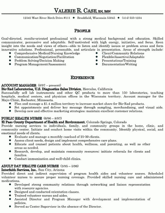 example of a nurse resume healthcare nursing sample resume ...