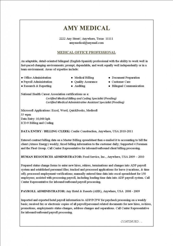 Billing And Coding Resume, 37 best resume images on pinterest ...