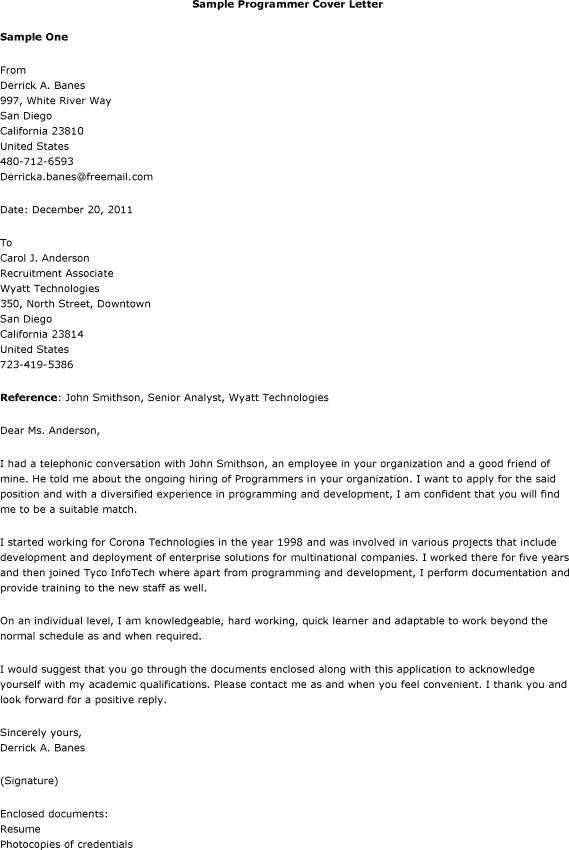 Computer Programmer Cover Letter Example icover uk for Programmer ...