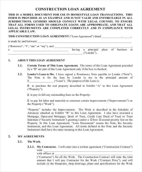 Sample Loan Agreements 5 Loan Agreement Templates To Write – Loan Agreement Format