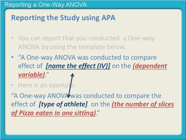 Reporting a one-way anova