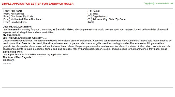 Sandwich Maker Application Letter