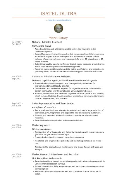 Sales Assistant Resume samples - VisualCV resume samples database