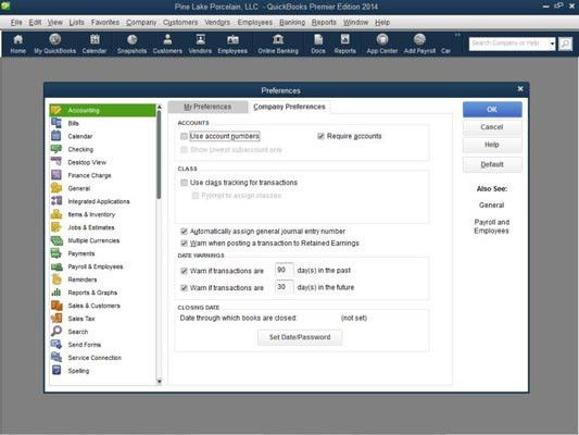How to Set QuickBooks 2014 Accounting Preferences - dummies