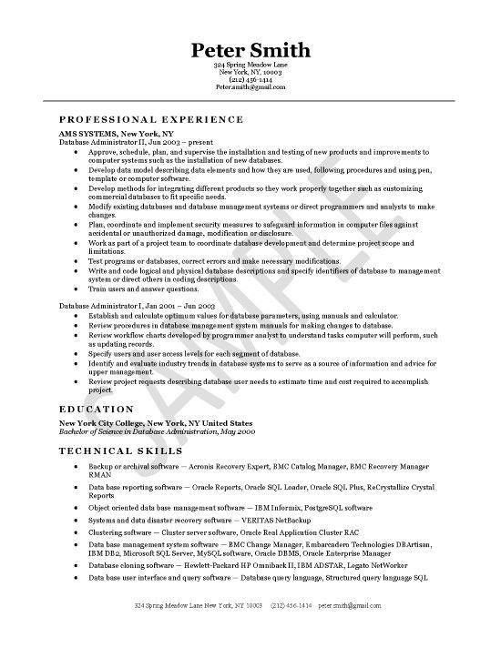 database resume sample