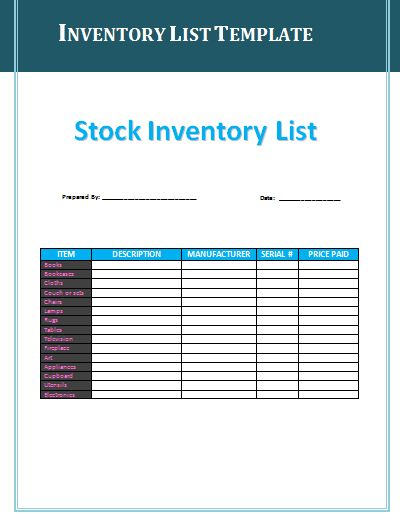 Inventory List Templates | Free List Templates