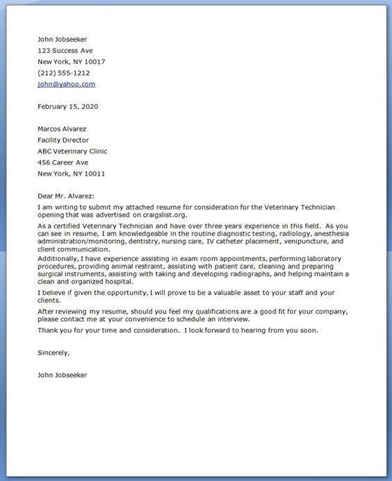 Sample resume - vet tech major | Resume & Cover Letter | Pinterest ...