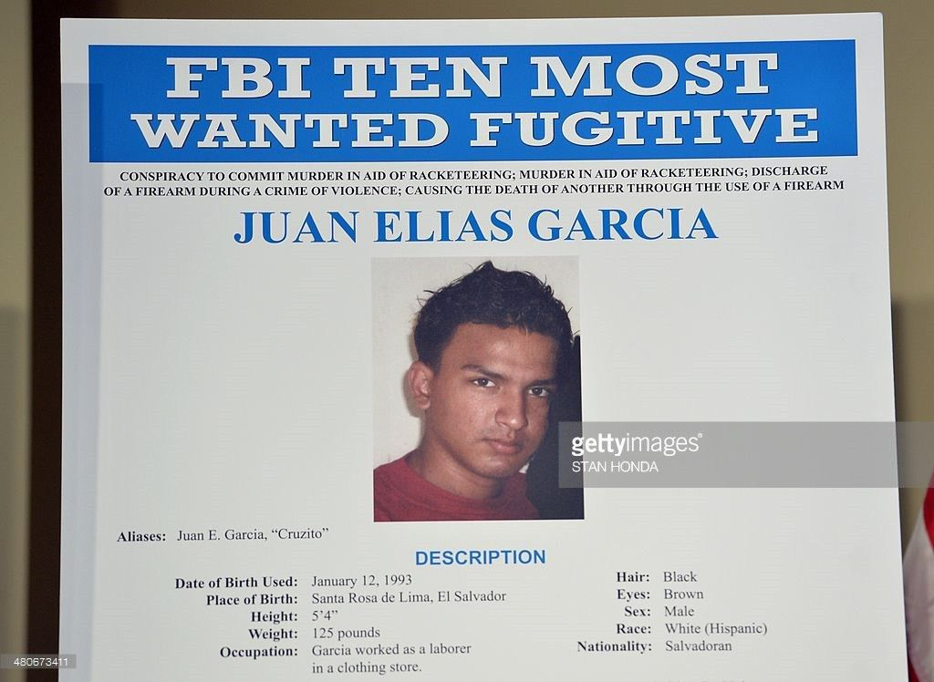 FBI poster showing Juan Elias Garcia, also known as 'Cruzito ...