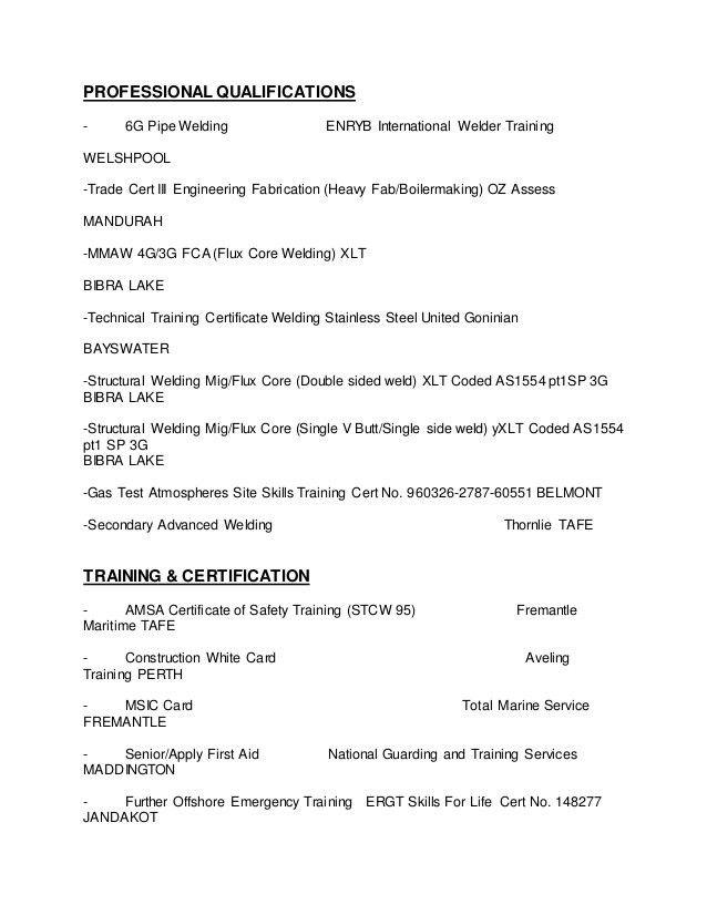 Sample Resume For Welder Fabricator - Contegri.com