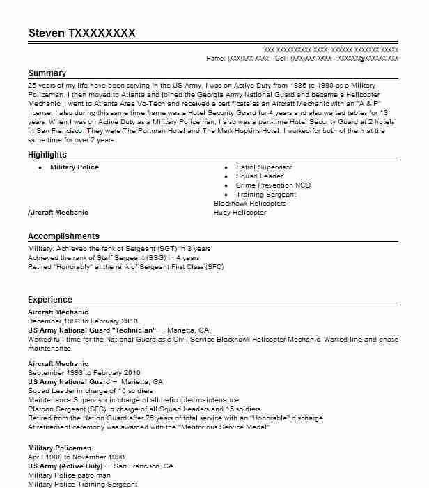 Best Aircraft Mechanic Resume Example | LiveCareer