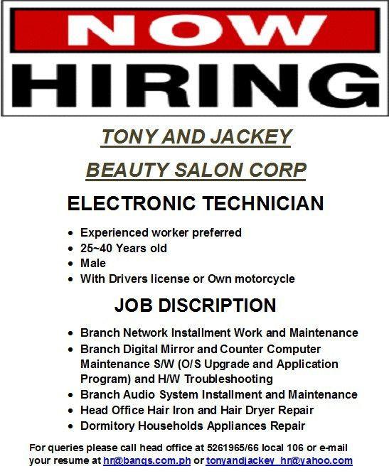 ELECTRONIC TECHNICIAN job hiring at | PinoyJobs.ph