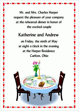 Table for Two - Wedding Rehearsal Dinner Invitations