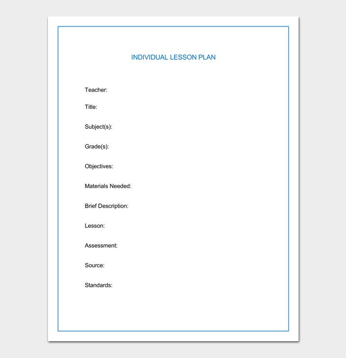 Monthly Lesson Plan Template. best 25 blank lesson plan template ...