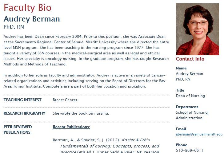 Publishing Faculty Bio Web Pages | Samuel Merritt University