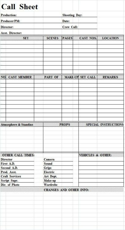Getting Into More Detail About What Call Sheets,... / Call Sheet ...