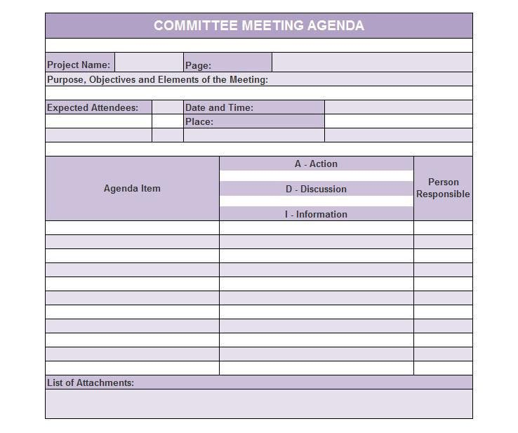 meeting agenda template excel | Professional Templates