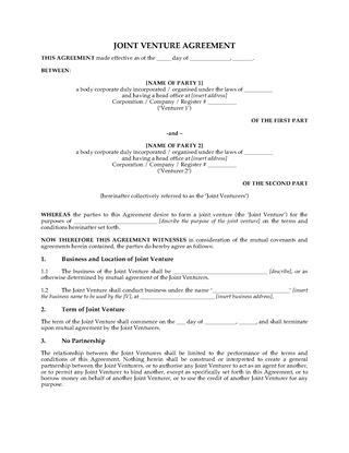 UK Partnership & Joint Venture Forms | Legal Forms and Business ...