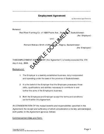 Employment Agreement (Canada) - Legal Templates - Agreements ...