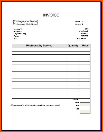 9+ photography invoice template | Survey Template Words