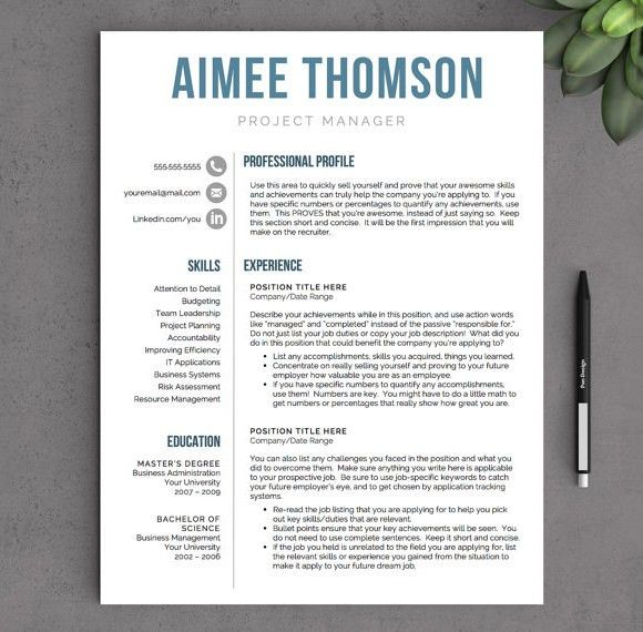 creative resume template for word us letter by landeddesignstudio ...