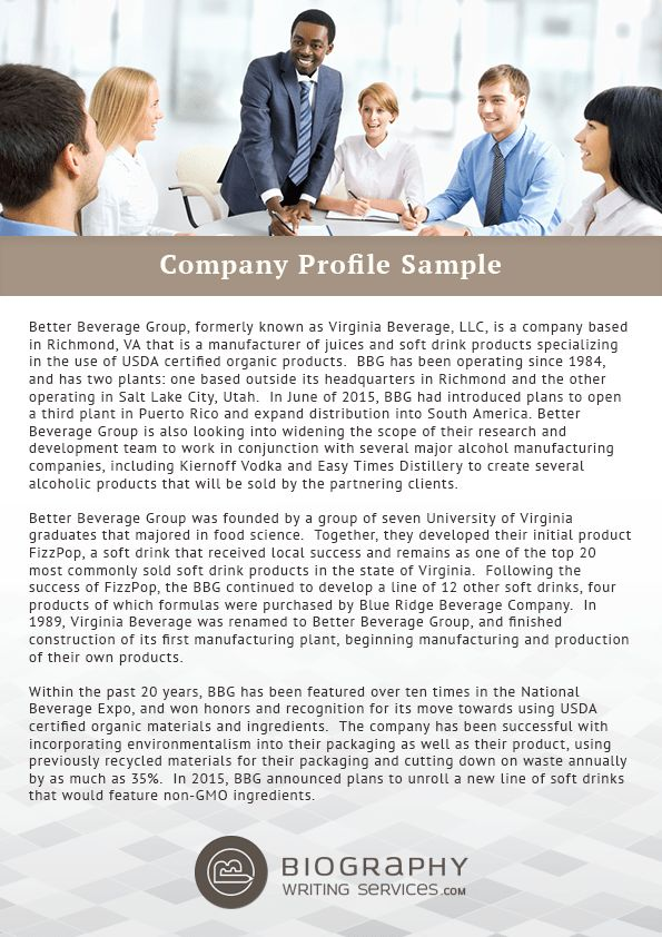 Help in Writing a Company Profile | Biography Writing Services