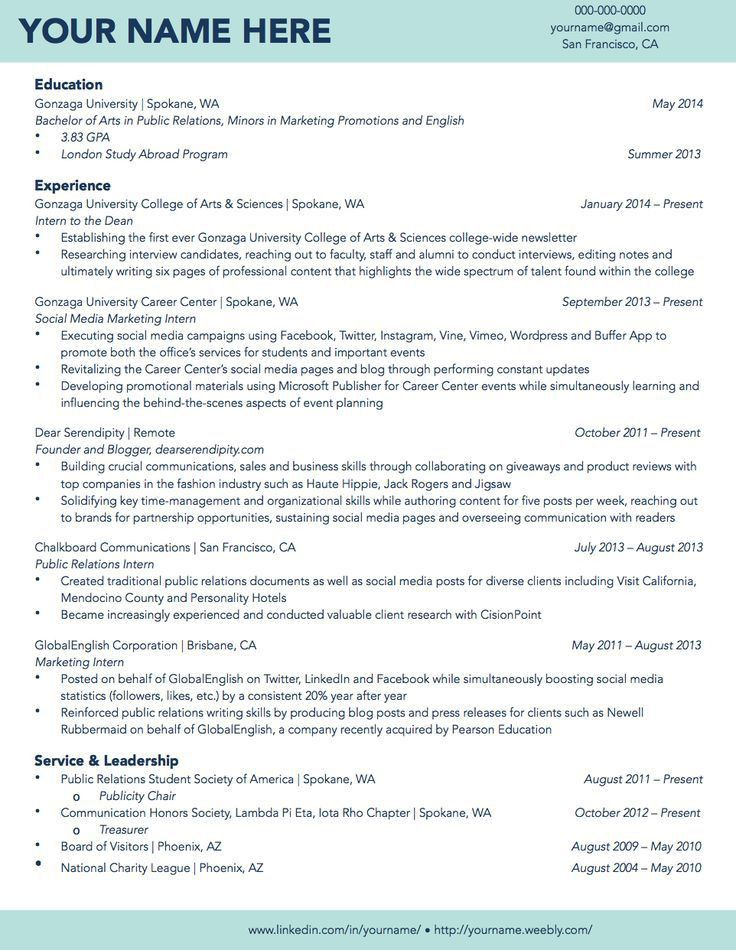 20 best Résumé Samples images on Pinterest | Gonzaga university ...