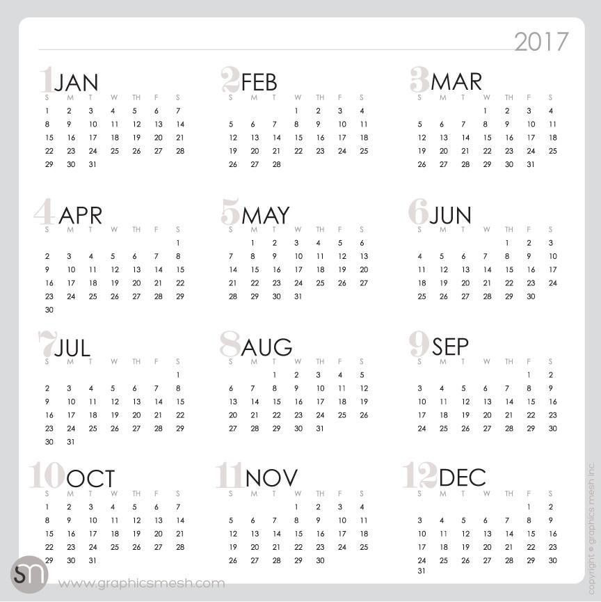 2017 YEARLY CALENDAR / WEEKLY / MEMO - DRY ERASE DECALS | GraphicsMesh