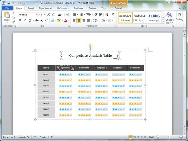 Competitive Analysis Templates for Word