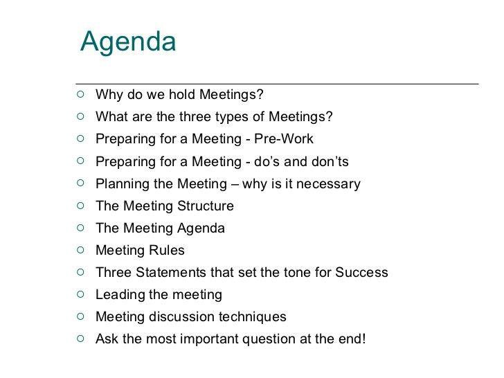 Preparing Meeting Agenda - Template Examples