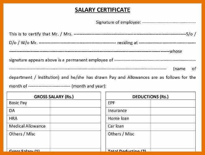 6+ salary certificate model – budget reporting