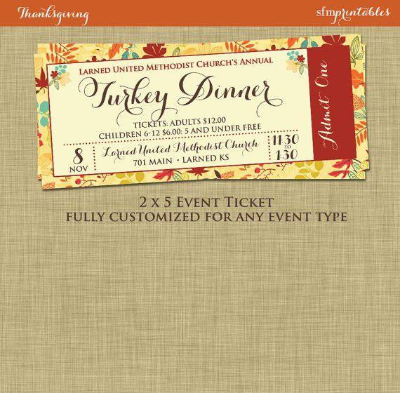 Fall Turkey Dinner Event Ticket Harvest Thanksgiving