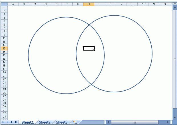 Using Excel 2007 to make a Venn diagram