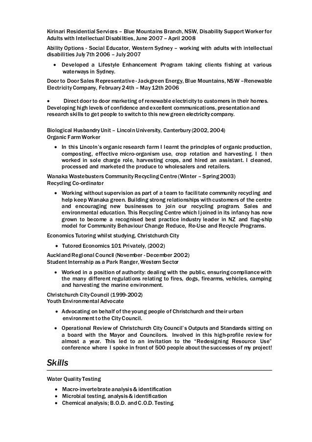 Community Based Env Conservation Resume 2015 Nick Moody