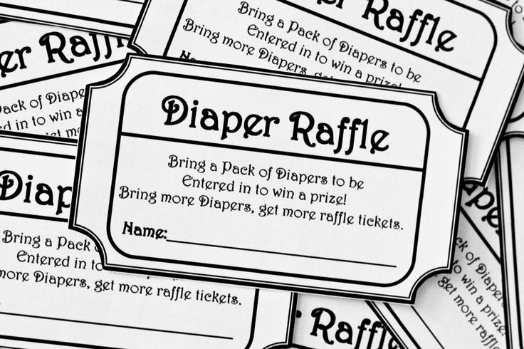 Black & White Printable Baby Shower Diaper Raffle Ticket. $8.00 ...