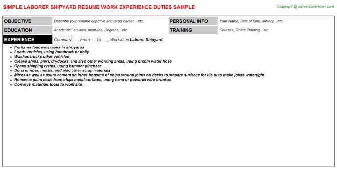 Laborer Shipyard Resume Sample