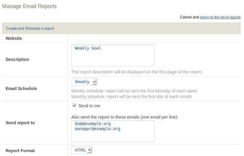 Manage Email Reports - Analytics Platform - Piwik
