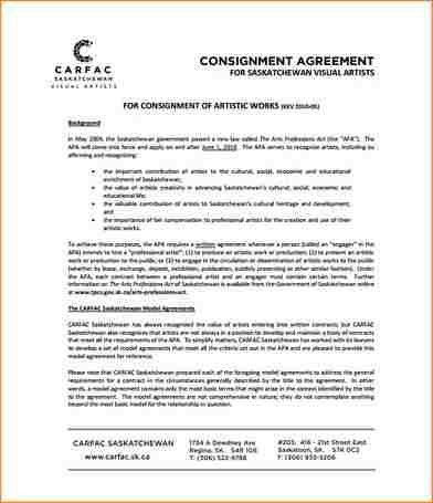 4+ consignment agreement template | academic resume template