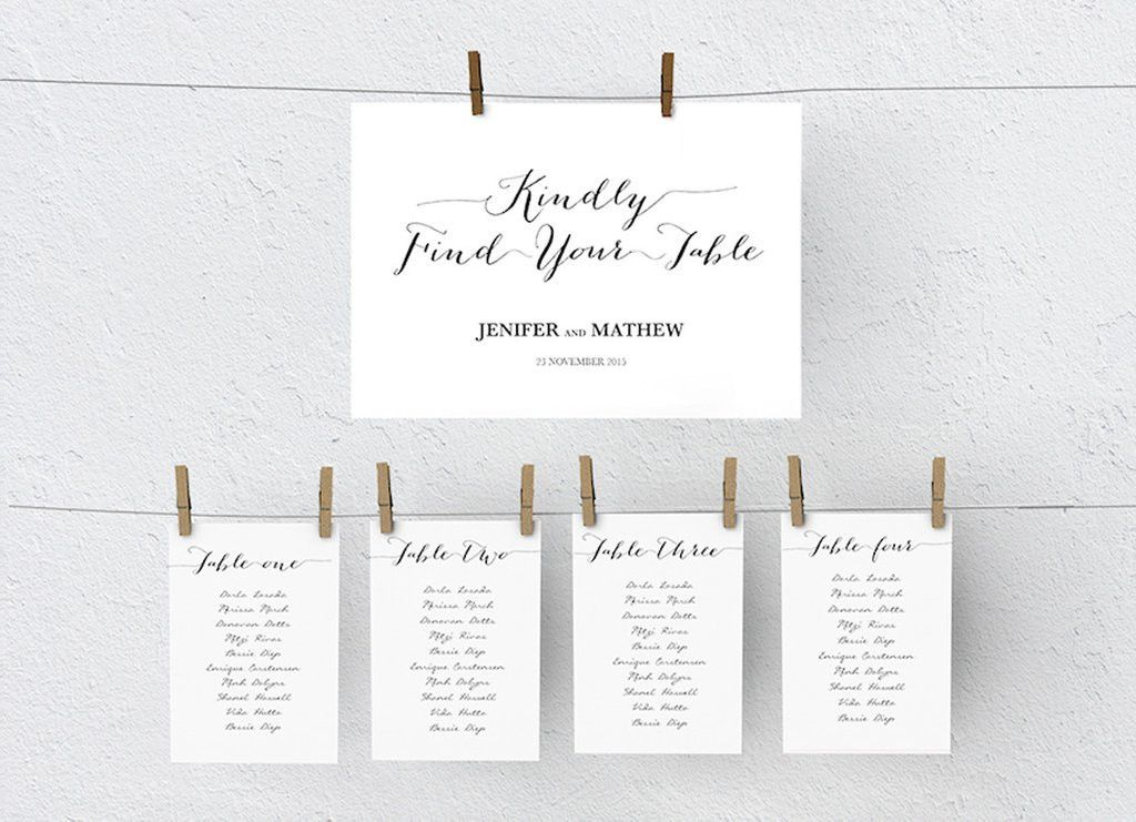 Wedding Seating Chart DIY | Editable MS Word Template | Bombshell ...