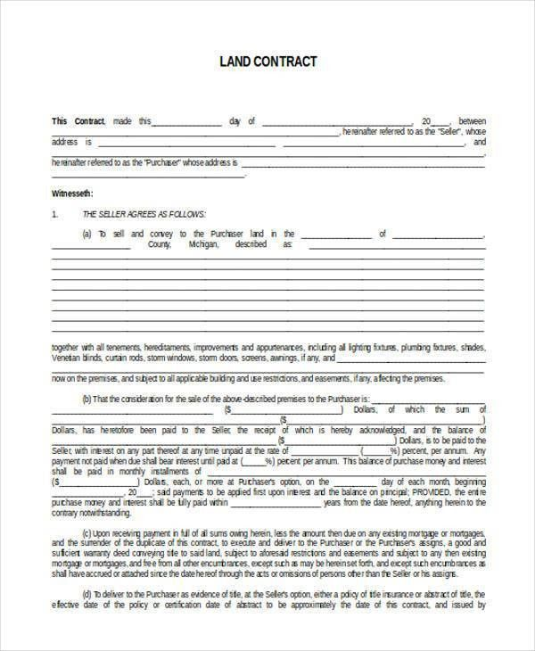 7+ Land Contract Form Samples - Free Sample, Example Format Download