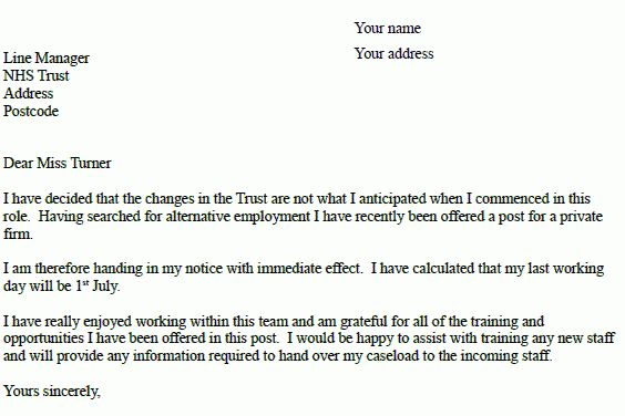 NHS Resignation Letter Example - Resignation Letter Examples