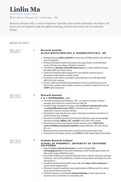 Research Associate Resume samples - VisualCV resume samples database