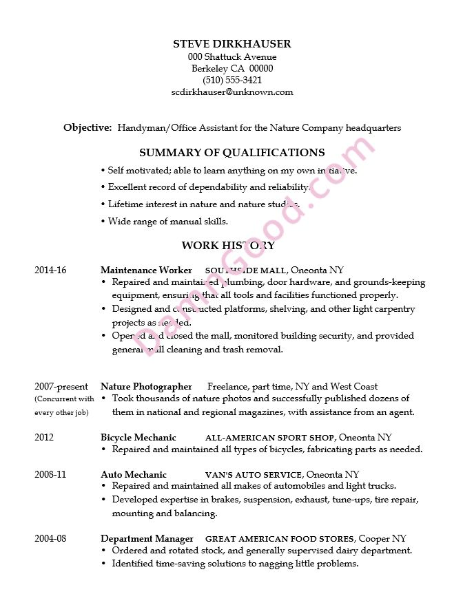 Handy Man Resume | Resume CV Cover Letter