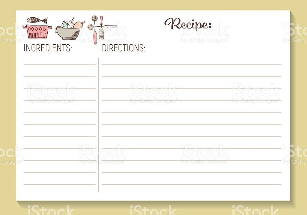 Cute Retro Kitchen Recipe Card Template stock vector art 623714750 ...