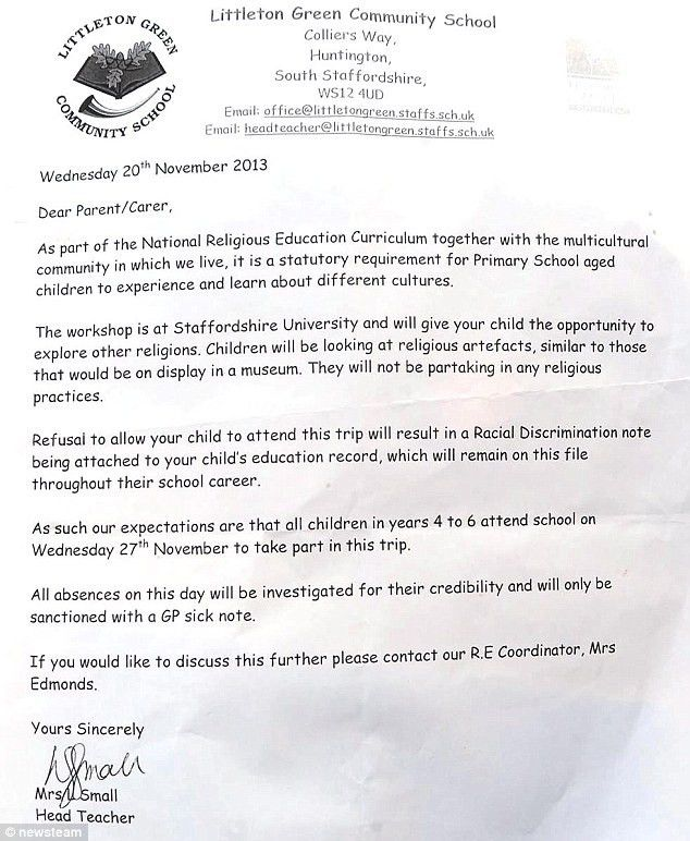 Children of 8 are 'racist' if they miss Islam trip: School's ...