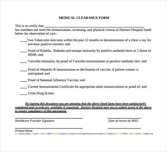 Sample Medical Clearance Form Medical Clearance Form  Free